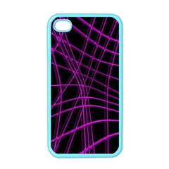 Purple And Black Warped Lines Apple Iphone 4 Case (color) by Valentinaart