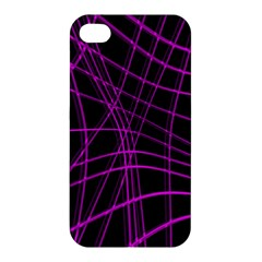 Purple And Black Warped Lines Apple Iphone 4/4s Premium Hardshell Case by Valentinaart