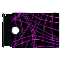 Purple And Black Warped Lines Apple Ipad 3/4 Flip 360 Case by Valentinaart