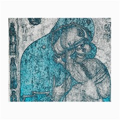 Mother Mary And Infant Jesus Christ  Blue Portrait Old Vintage Drawing Small Glasses Cloth by yoursparklingshop