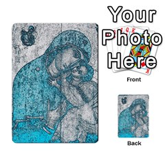 Mother Mary And Infant Jesus Christ  Blue Portrait Old Vintage Drawing Multi Purpose Cards (rectangle)  by yoursparklingshop