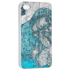 Mother Mary And Infant Jesus Christ  Blue Portrait Old Vintage Drawing Apple Iphone 4/4s Seamless Case (white) by yoursparklingshop