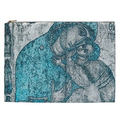Mother Mary And Infant Jesus Christ  Blue Portrait Old Vintage Drawing Cosmetic Bag (xxl)  by yoursparklingshop