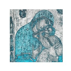 Mother Mary And Infant Jesus Christ  Blue Portrait Old Vintage Drawing Small Satin Scarf (square) by yoursparklingshop