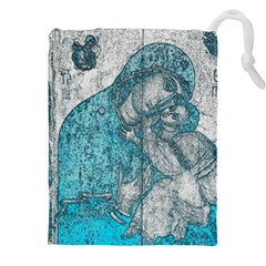 Mother Mary And Infant Jesus Christ  Blue Portrait Old Vintage Drawing Drawstring Pouches (XXL) by yoursparklingshop
