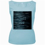 Black an white  Chill out  Women s Baby Blue Tank Top