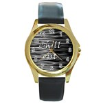 Black an white  Chill out  Round Gold Metal Watch