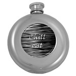 Black an white  Chill out  Round Hip Flask (5 oz)
