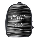 Black an white  Chill out  School Bags(Large)