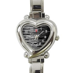 I Love Black And White 2 Heart Italian Charm Watch by Valentinaart