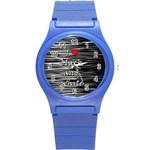 I love black and white 2 Round Plastic Sport Watch (S)