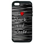 I love black and white 2 Apple iPhone 5 Hardshell Case (PC+Silicone)