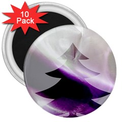 Purple Christmas Tree 3  Magnets (10 Pack)  by yoursparklingshop
