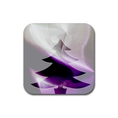 Purple Christmas Tree Rubber Coaster (square)  by yoursparklingshop