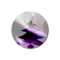 Purple Christmas Tree Rubber Round Coaster (4 Pack)  by yoursparklingshop