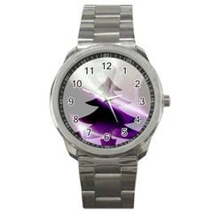Purple Christmas Tree Sport Metal Watch by yoursparklingshop
