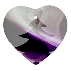 Purple Christmas Tree Heart Ornament (2 Sides) by yoursparklingshop