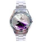 Purple Christmas Tree Stainless Steel Analogue Watch