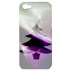 Purple Christmas Tree Apple Iphone 5 Hardshell Case by yoursparklingshop