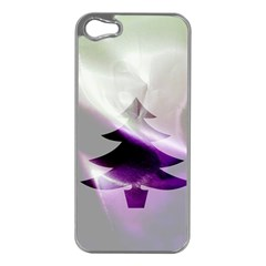 Purple Christmas Tree Apple Iphone 5 Case (silver) by yoursparklingshop