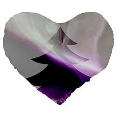 Purple Christmas Tree Large 19  Premium Heart Shape Cushions by yoursparklingshop