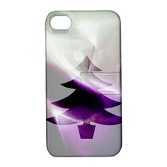 Purple Christmas Tree Apple Iphone 4/4s Hardshell Case With Stand by yoursparklingshop