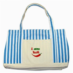 I Am Hot  Striped Blue Tote Bag by Valentinaart