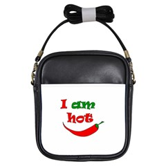 I Am Hot  Girls Sling Bags by Valentinaart