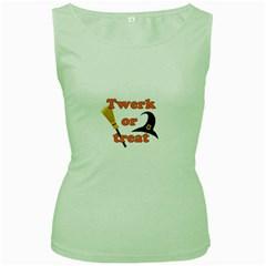 Twerk Or Treat   Funny Halloween Design Women s Green Tank Top by Valentinaart