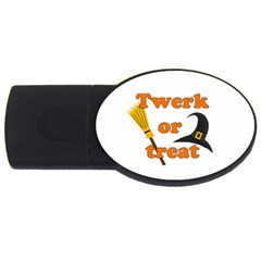 Twerk Or Treat   Funny Halloween Design Usb Flash Drive Oval (4 Gb)  by Valentinaart