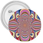 Pastel Shades Ornamental Flower 3  Buttons