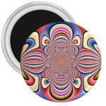 Pastel Shades Ornamental Flower 3  Magnets