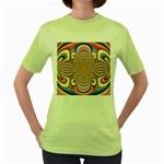 Pastel Shades Ornamental Flower Women s Green T-Shirt