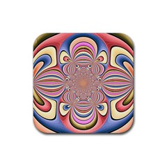 Pastel Shades Ornamental Flower Rubber Coaster (square)  by designworld65