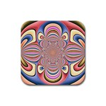 Pastel Shades Ornamental Flower Rubber Square Coaster (4 pack)
