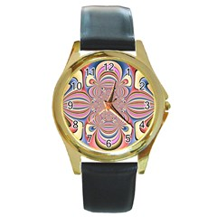 Pastel Shades Ornamental Flower Round Gold Metal Watch by designworld65