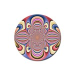 Pastel Shades Ornamental Flower Rubber Round Coaster (4 pack)