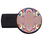 Pastel Shades Ornamental Flower USB Flash Drive Round (2 GB)