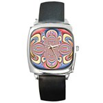 Pastel Shades Ornamental Flower Square Metal Watch