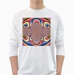 Pastel Shades Ornamental Flower White Long Sleeve T-Shirts