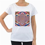 Pastel Shades Ornamental Flower Women s Loose-Fit T-Shirt (White)