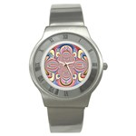 Pastel Shades Ornamental Flower Stainless Steel Watch