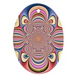 Pastel Shades Ornamental Flower Oval Ornament (Two Sides)