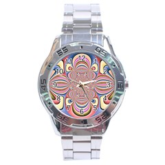 Pastel Shades Ornamental Flower Stainless Steel Analogue Watch by designworld65