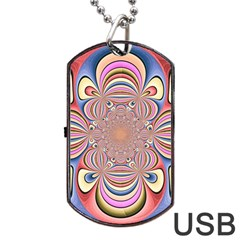 Pastel Shades Ornamental Flower Dog Tag Usb Flash (two Sides)  by designworld65
