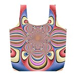 Pastel Shades Ornamental Flower Full Print Recycle Bags (L)