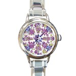 Stylized Floral Ornate Pattern Round Italian Charm Watch