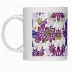 Stylized Floral Ornate Pattern White Mugs