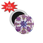 Stylized Floral Ornate Pattern 1.75  Magnets (10 pack)