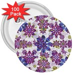 Stylized Floral Ornate Pattern 3  Buttons (100 pack)